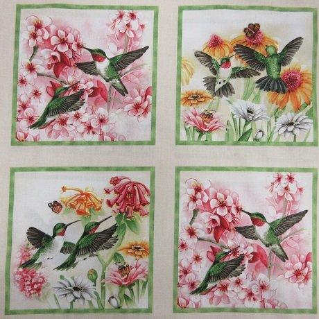 HUMMINGBIRDS - CREAM PANEL