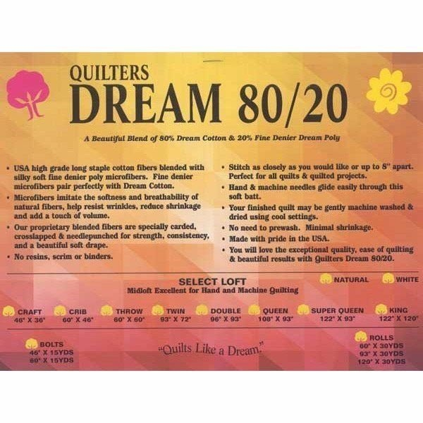 BATTING - QUILTERS DREAM - 80/20 QUEEN