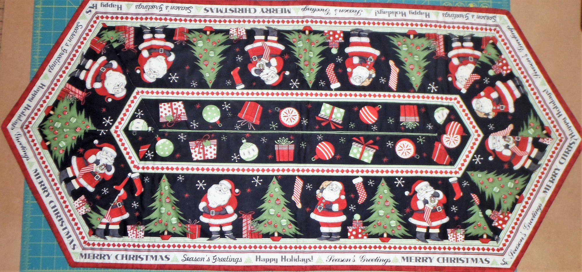 Santa Easy Striped Table Runner