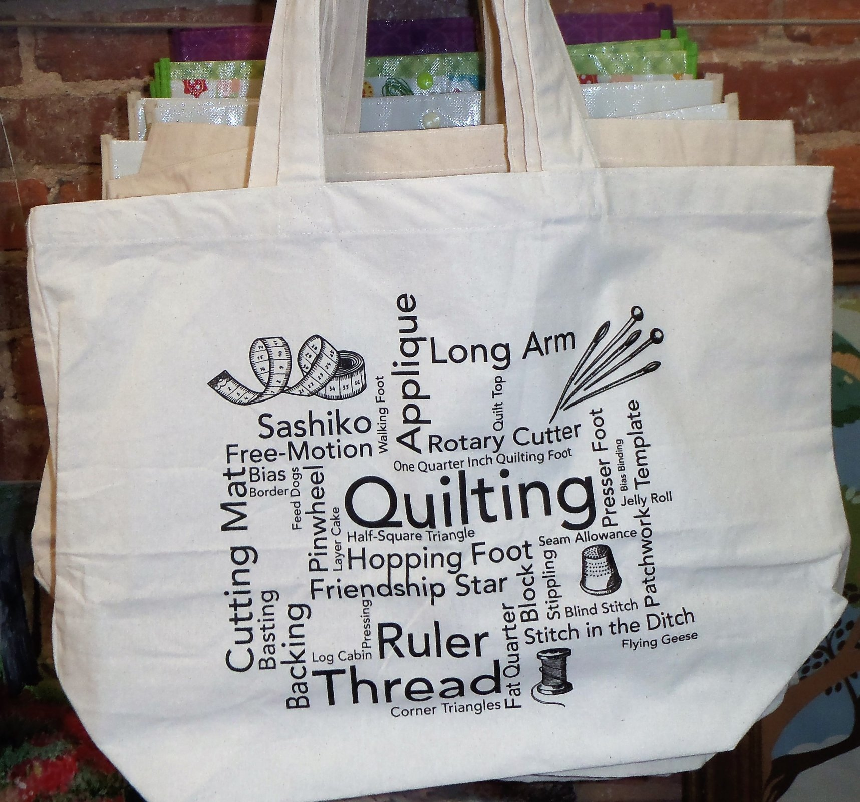 Quilting Words Tote Bag