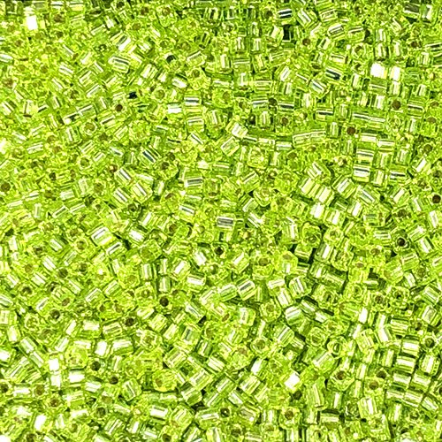 SB18-014 1.8mm Silverlined Chartreuse Square Beads