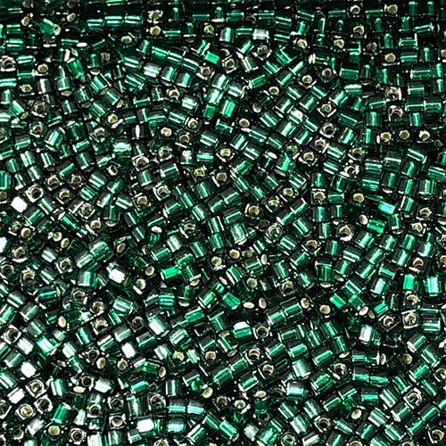 SB18-016A 1.8mm Silverlined Dark Green Square Beads