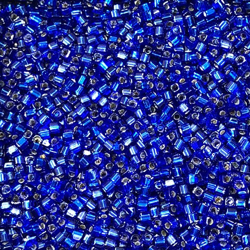 SB18-020 1.8mm Silverlined Cobalt Square Beads