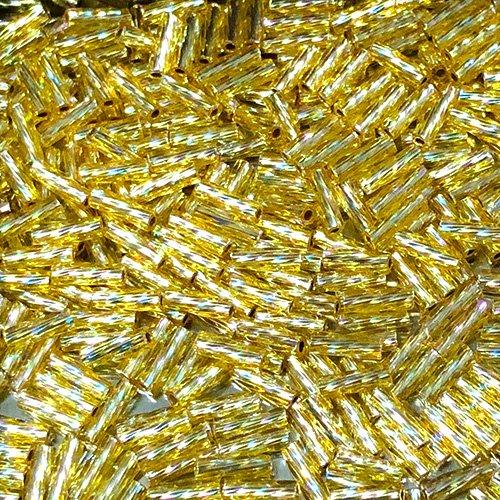 BG634.6S  6mm Spiral Bugle Silverlined Straw Gold AB