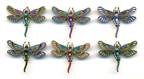 Dragonfly Button BE468 - Antique Gold