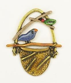 Bird on Basket Charm - C-1459 Blue