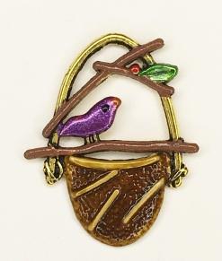 Bird on Basket Charm - C-1459 Purple