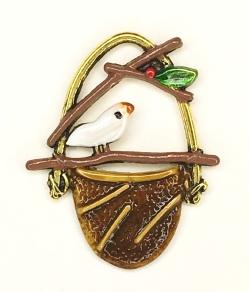 Bird on Basket Charm - C-1459 White