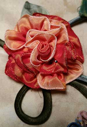 rose made from French Wired Ribbon