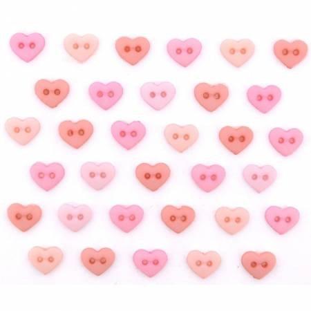 Micro Mini Hearts  Button Pack - Rose 9533