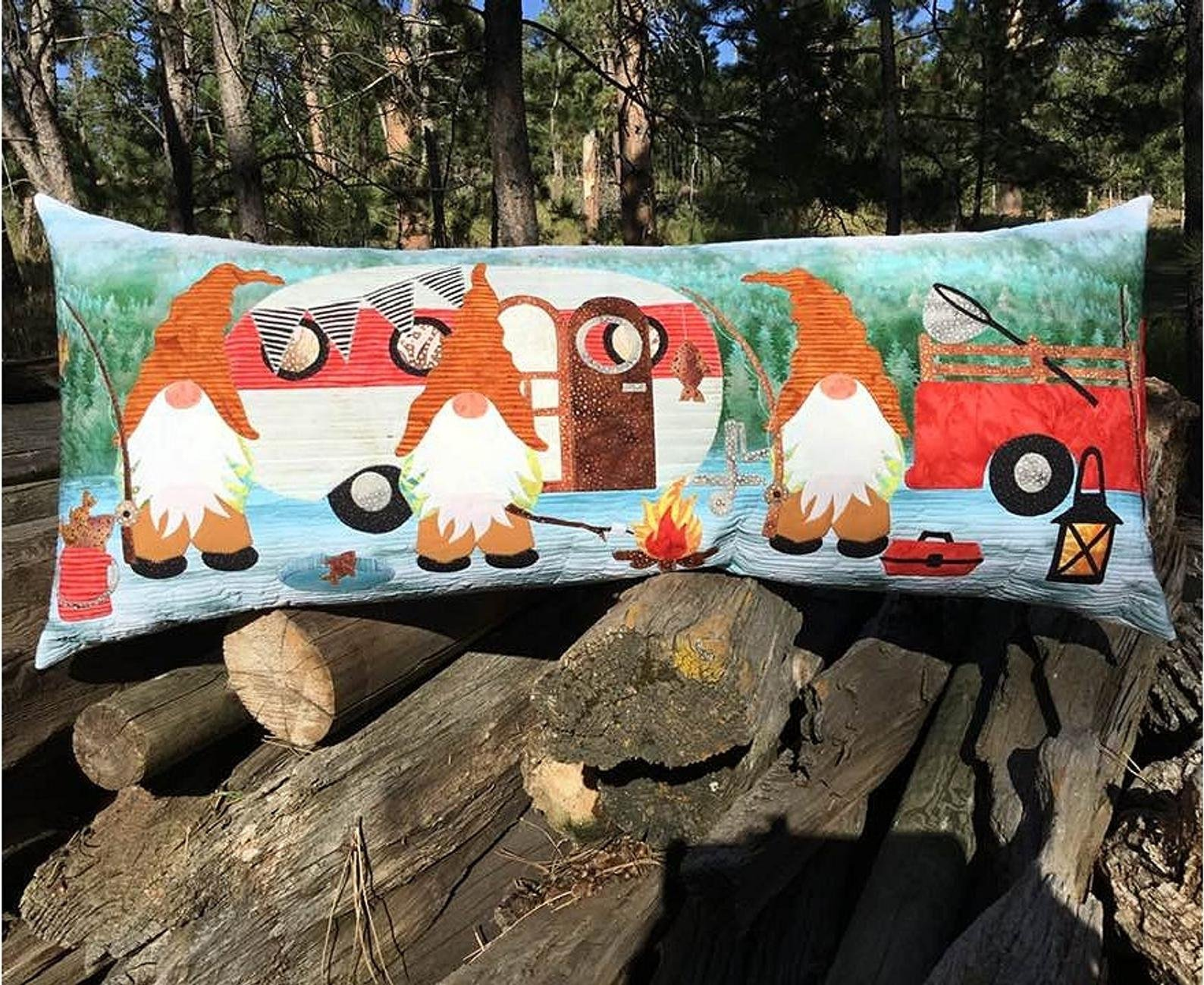 Gnome Is Where You Park it Bench Pillow Pattern
