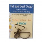 1 Swivel Hook and D Ring Antique Gold