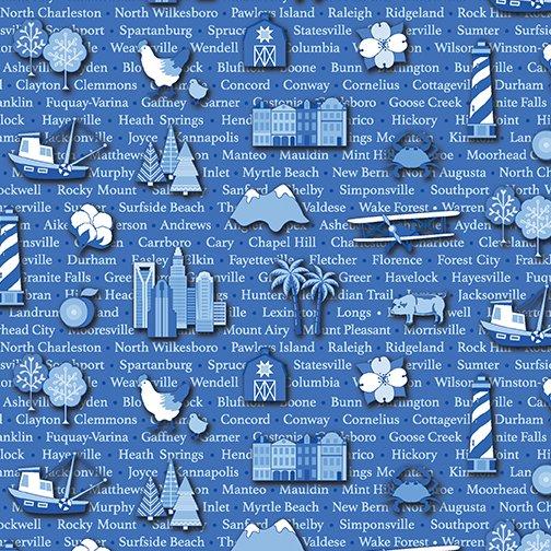 Carolinas Cities - Blue