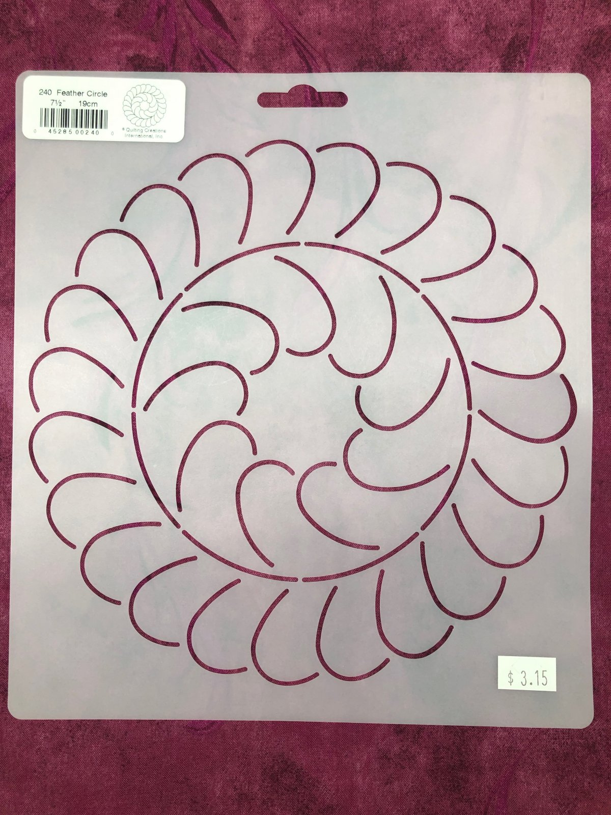 10-1//2 x 7-1//2 x 1-1//2 Quilting Creations Cable Border and Corner Quilt Stencil