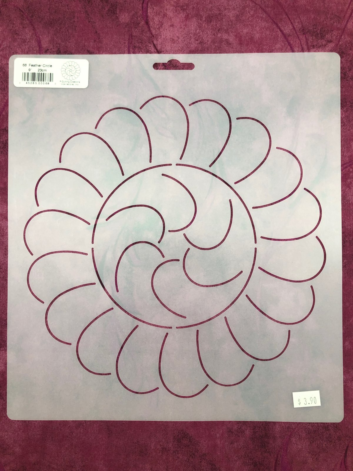 68 Feather Circle 9 Inch Stencil