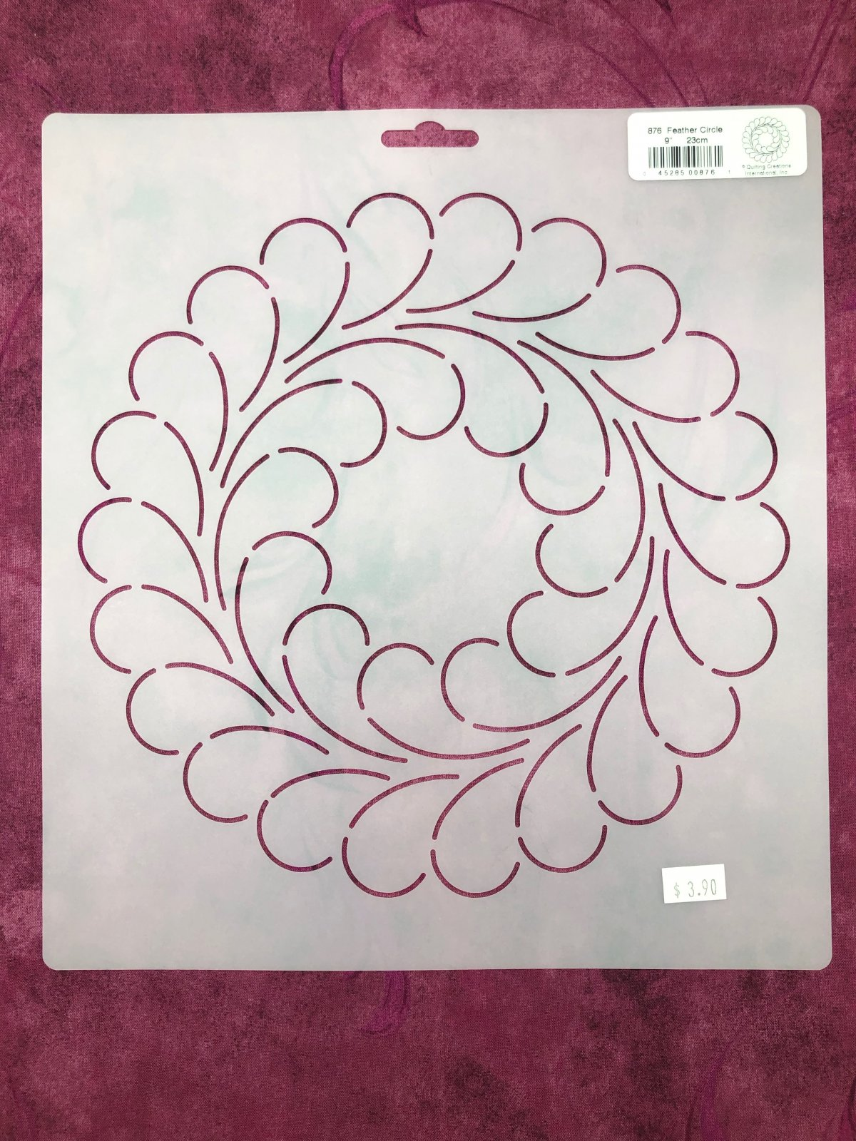 876 Feather Circle 9 Inch Stencil