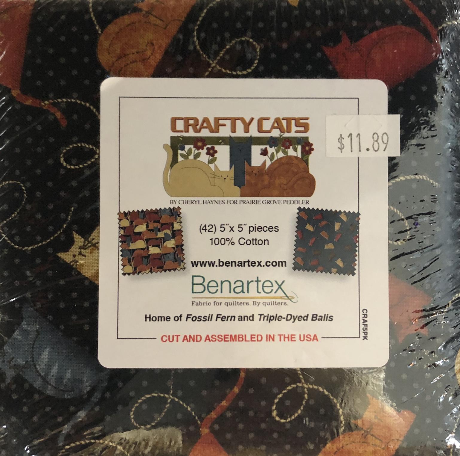 Benartex Crafty Cats 42 5 X 5 squares