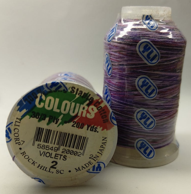 YLI Colours #2 Violets 200yds 100% Long Staple
