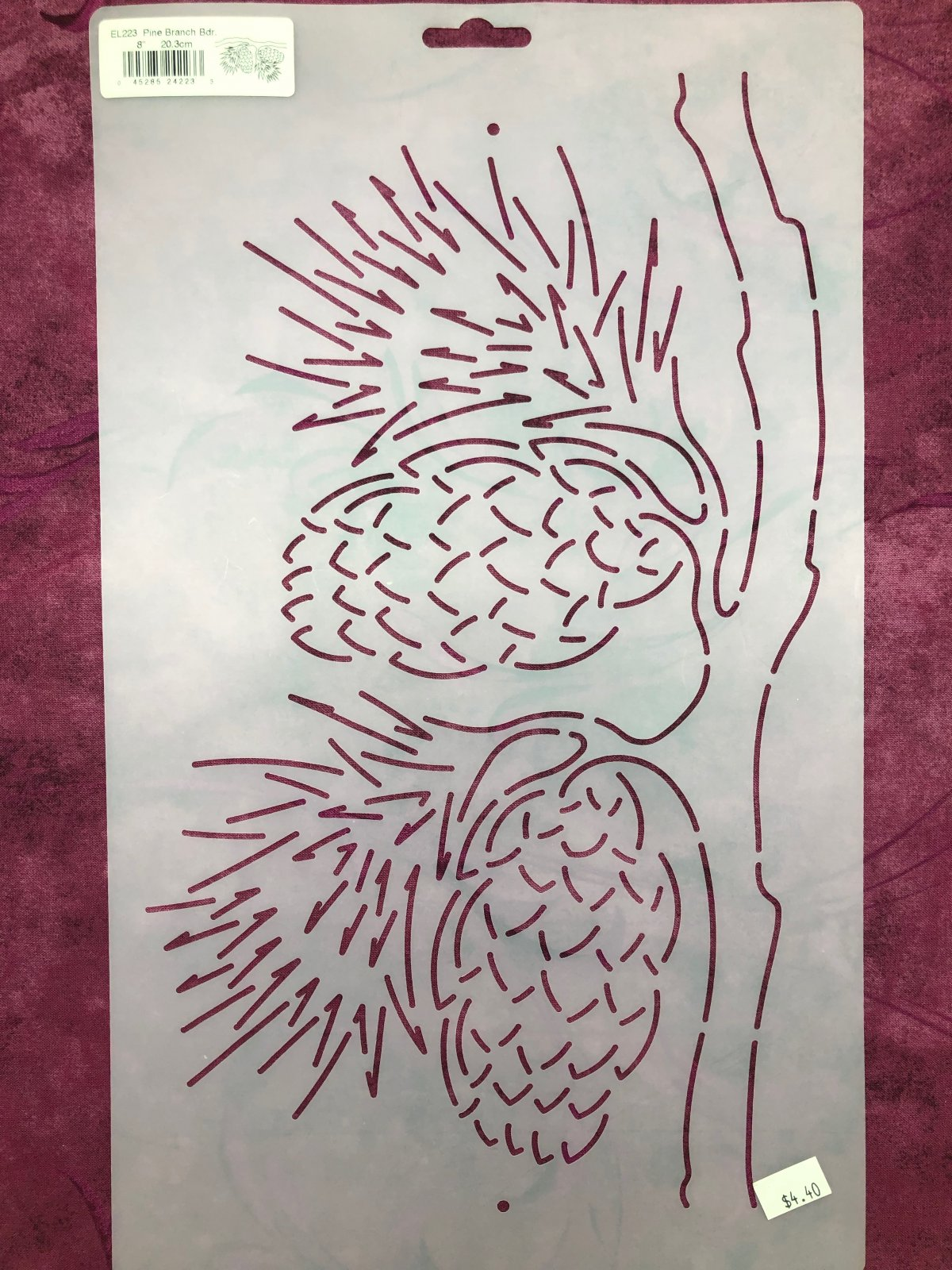 EL223 Pine Branch Bdr. 8 Inch Stencil