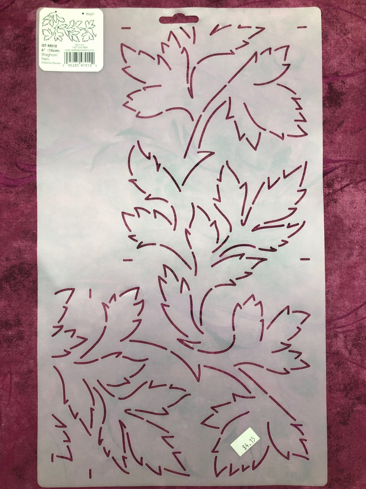 GT-MS10 Staghorn Fern 6 Inch Stencil