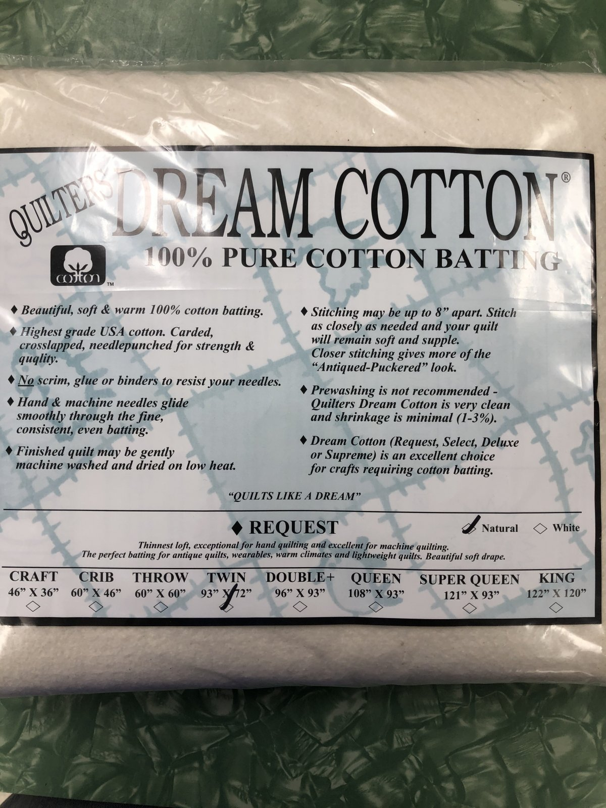 Natural Dream Cotton Request Twin Thinnest Loft Natural