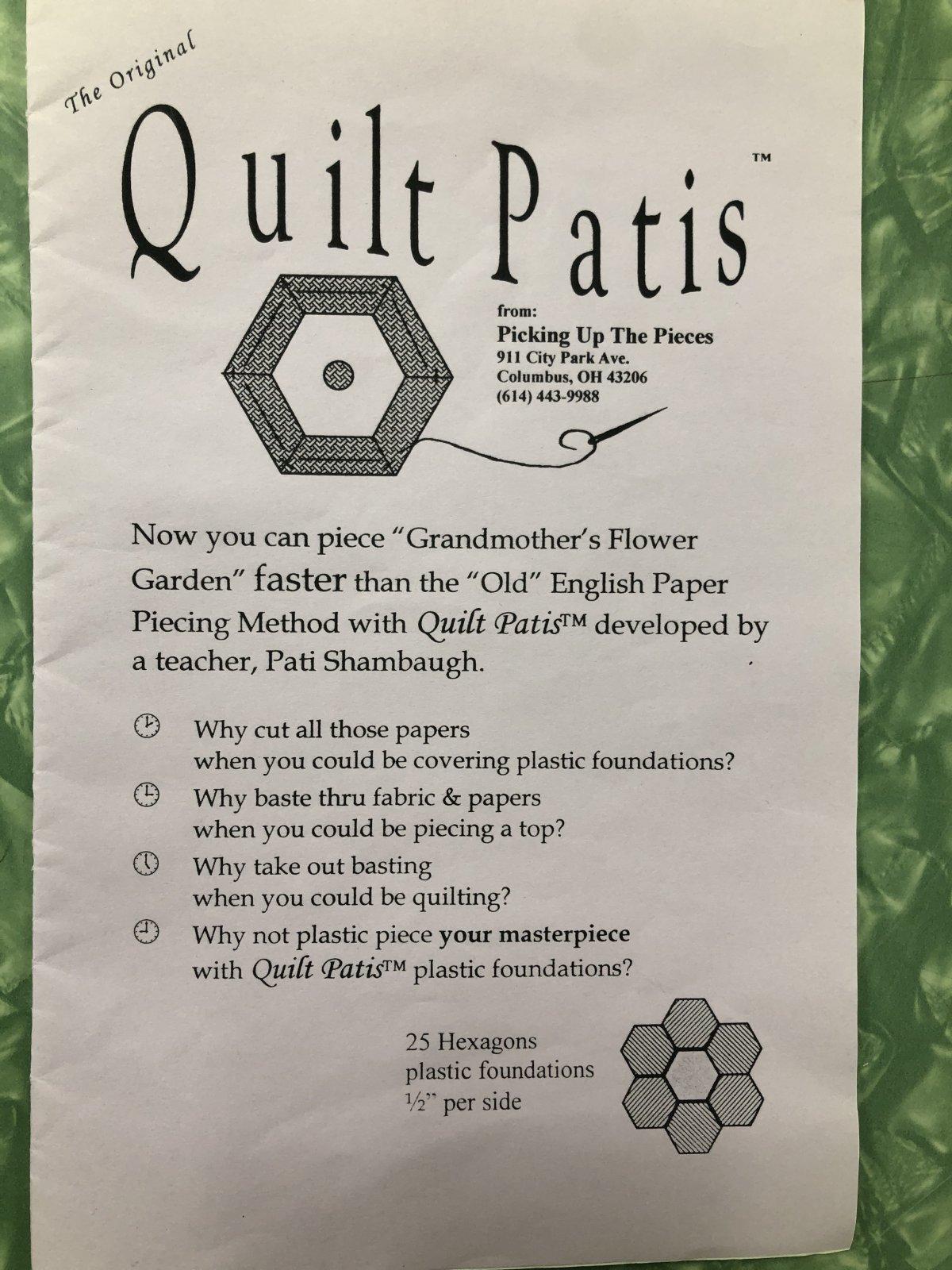 Quilt Patis 1/2 per side 25 Hexagons