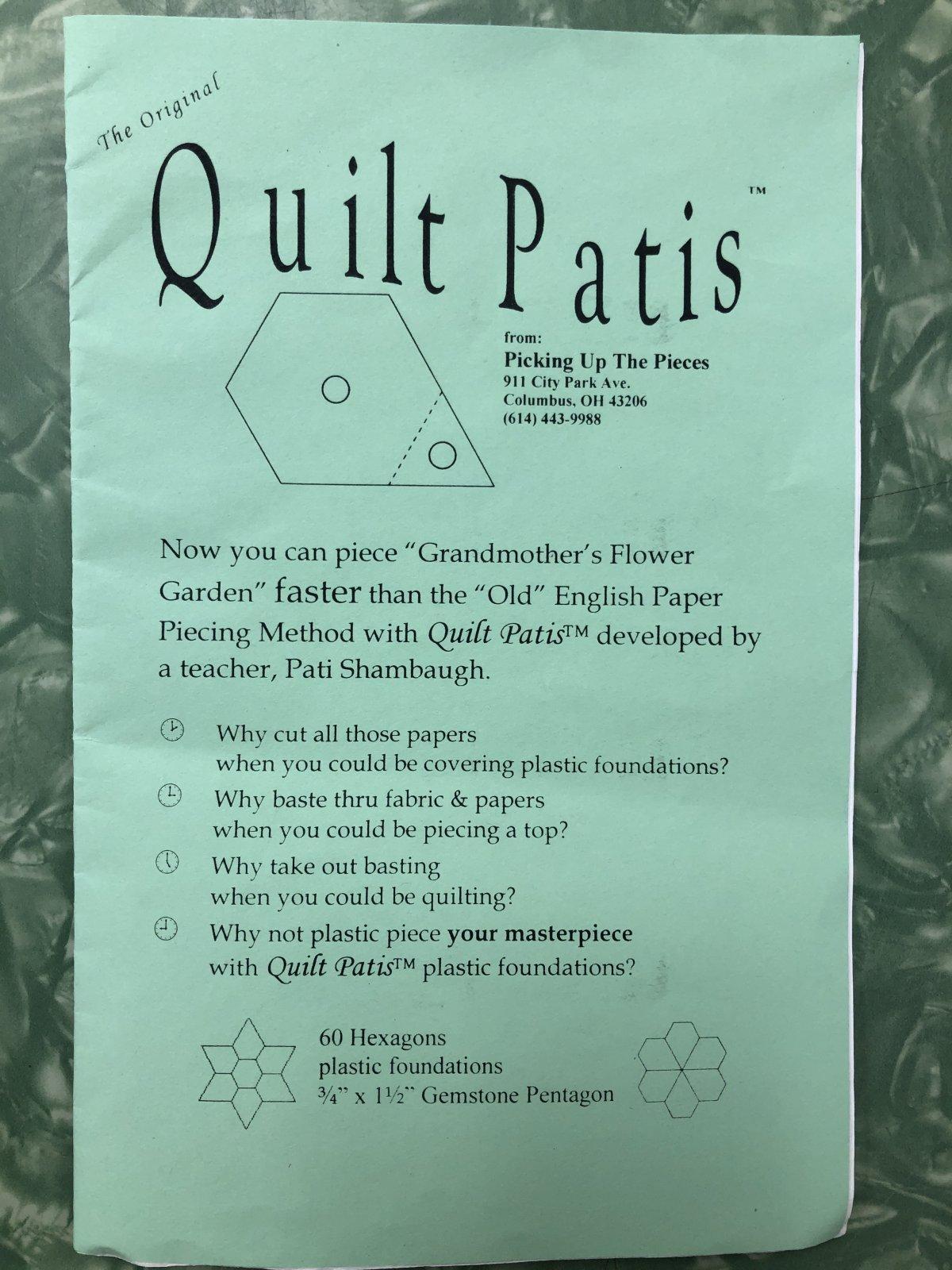 Quilt Patis 3/4 x 1 1/2 Gemstone Pentagon