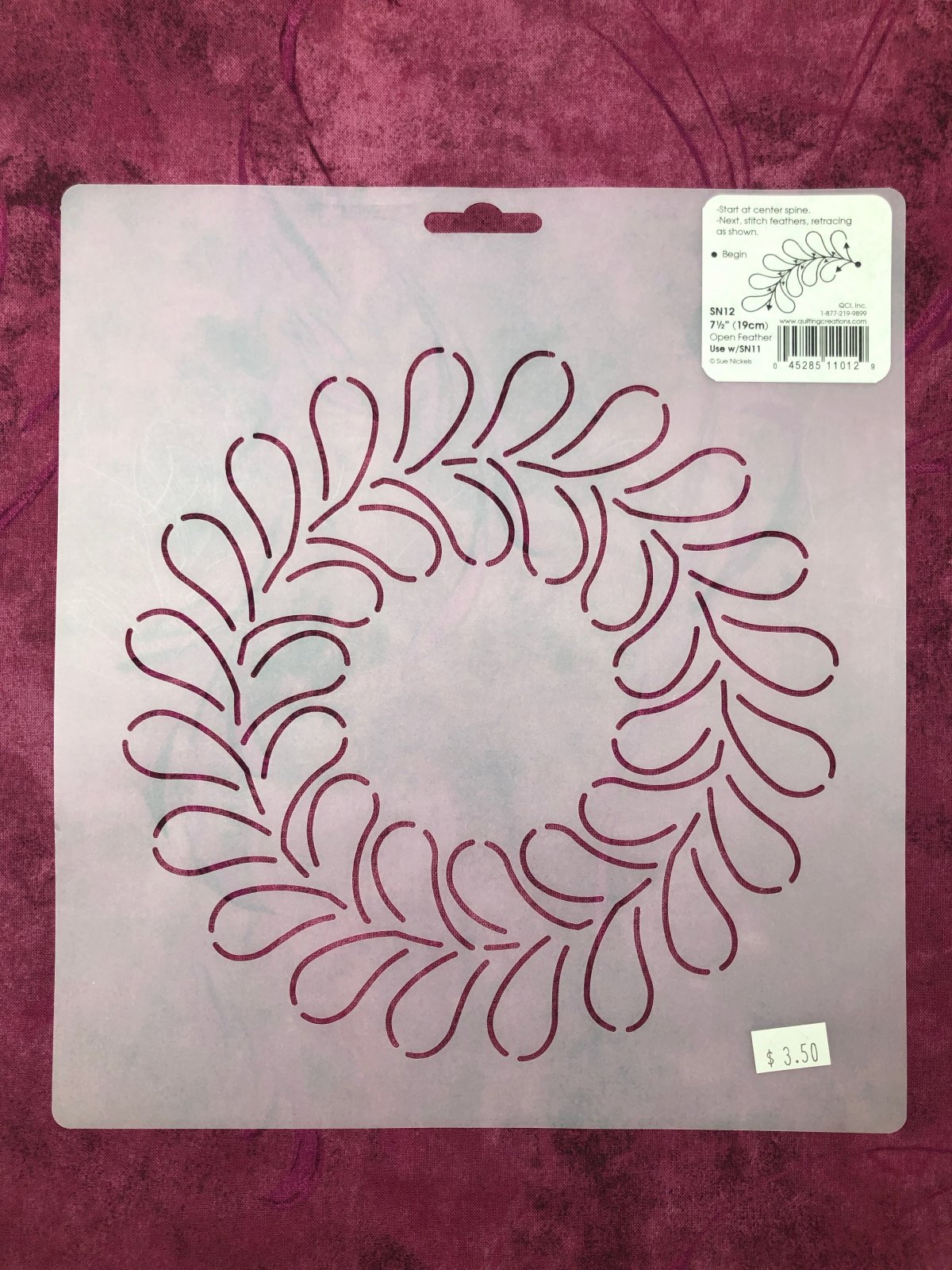 SN12 Open Feather 7 1/2 Inch Stencil