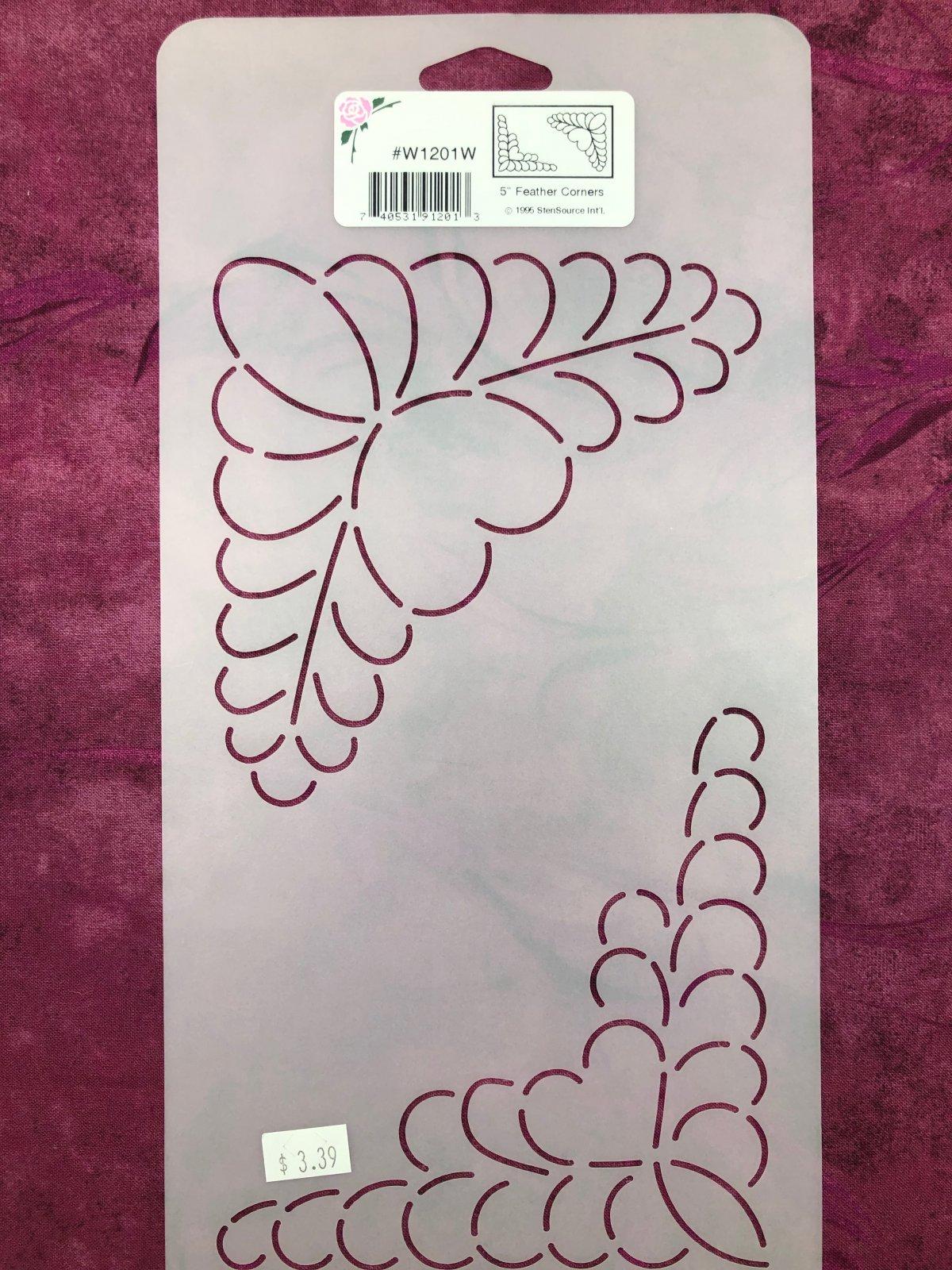W1201W Feather Corners 5 Inch Stencil