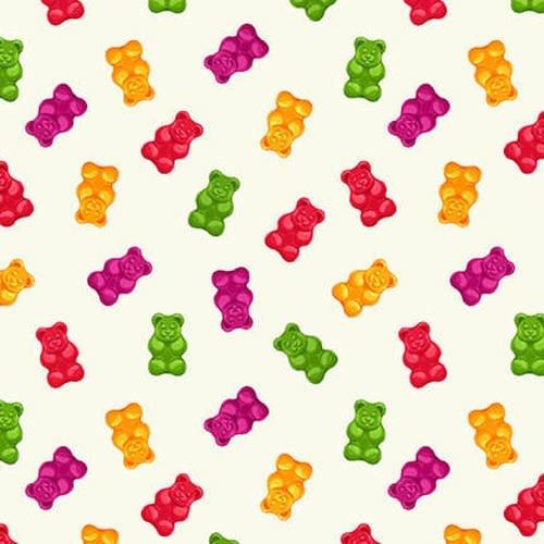 Herban Sprawl Gummy Bears on Cream Fabric by the yard