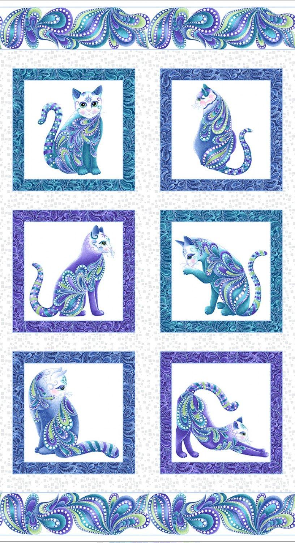 Cat-i-tude 3 Singing the Blues 24 Panel on White