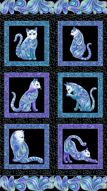 Cat-i-tude 3 Singing the Blues 24 Panel on Black