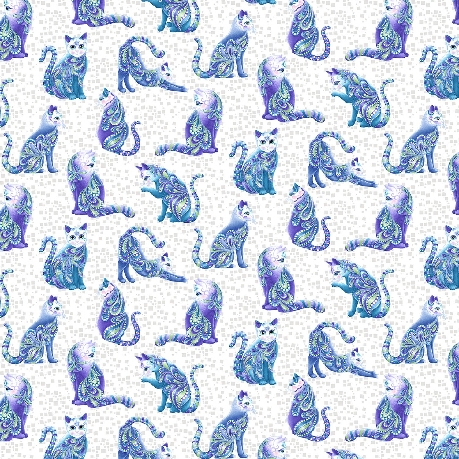 Cat-i-tude 3 Singing the Blues Artist-0-Cat White Fabric by the Yard