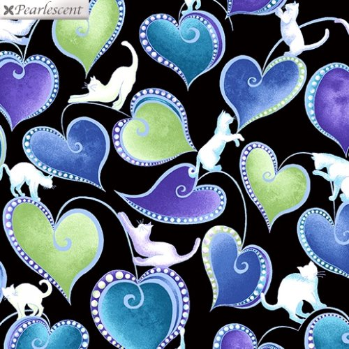 Cat-i-tude 3 Singing the Blues Hearts and Cats Black Fabric by the Yard
