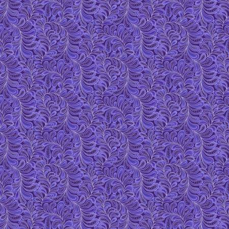 Cat-i-tude 3 Singing the Blues Feather Frolic Purple Fabric by the Yard