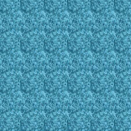 Cat-i-tude 3 Singing the Blues Triangular Motion Teal Fabric by the Yard