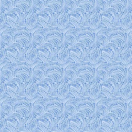 Cat-i-tude 3 Singing the Blues Beaded Swirl Blue Fabric by the Yard