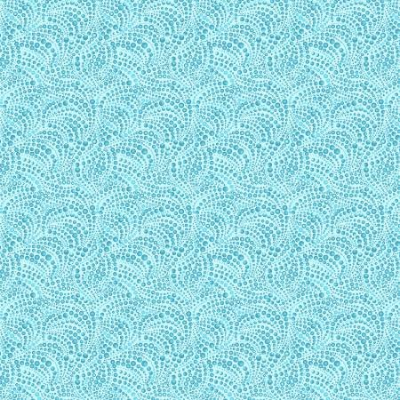 Cat-i-tude 3 Singing the Blues Beaded Swirls Teal Fabric by the Yard