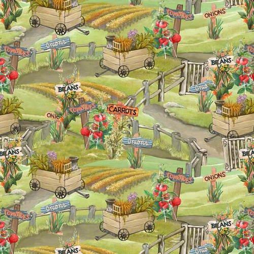 Blissful Bounty Scenic Vegetable Garden Digital Fabric by the yard