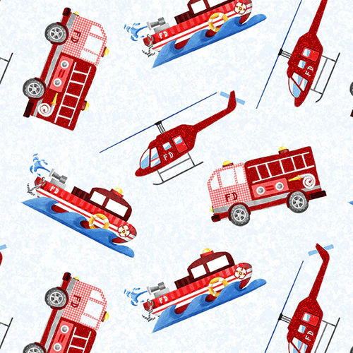 Everyday Heroes Firefighter Vehicles on White Fabric by the Yard