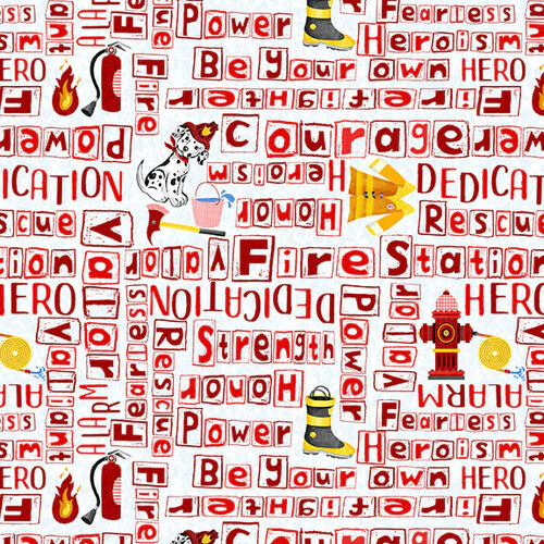 Everyday Heroes Red Firefighter Words on White Fabric by the Yard