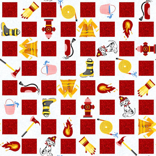 Everyday Heroes Firefighter Motif Checkerboard Fabric by the Yard