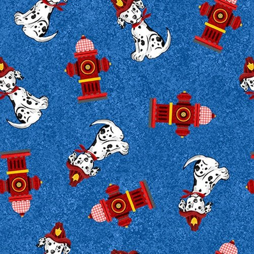Everyday Heroes Dalmations and Hydrants on Blue Fabric by the Yard