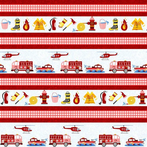 Everyday Heroes Firefighter Stripe Fabric by the Yard