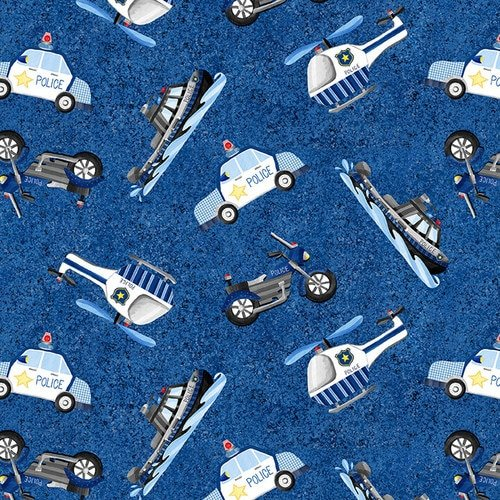 Everyday Heroes Police Vehicles Fabric by the Yard