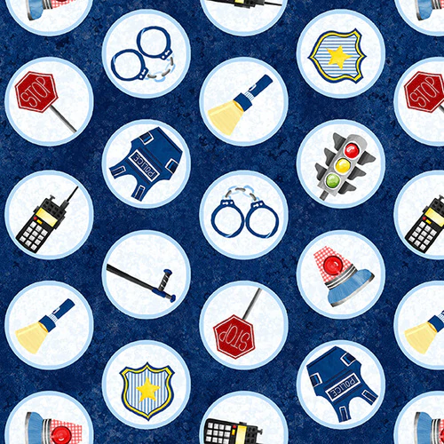 Everyday Heroes Police Motifs in Circles Fabric by the Yard
