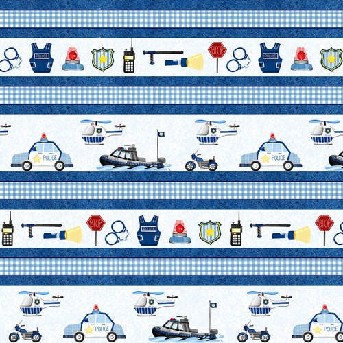 Everyday Heroes Police Stripe Fabric by the Yard