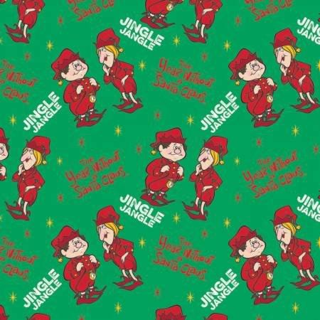 Character Winter Holiday 2 Tywasc Jingle Jangle on Green Fabric by the Yard