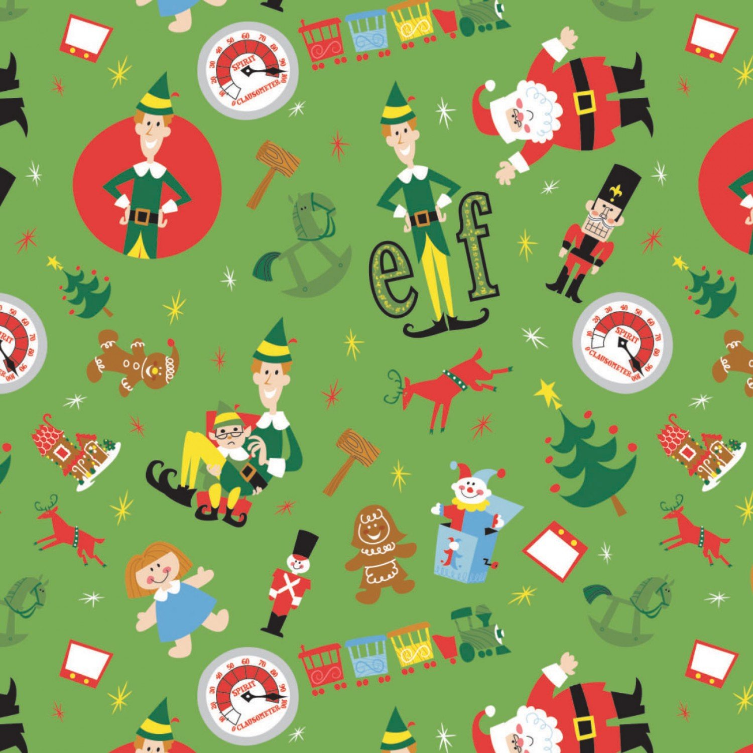 Character Winter Holiday 2 Elf Play Time Toss on Green Fabric by the Yard