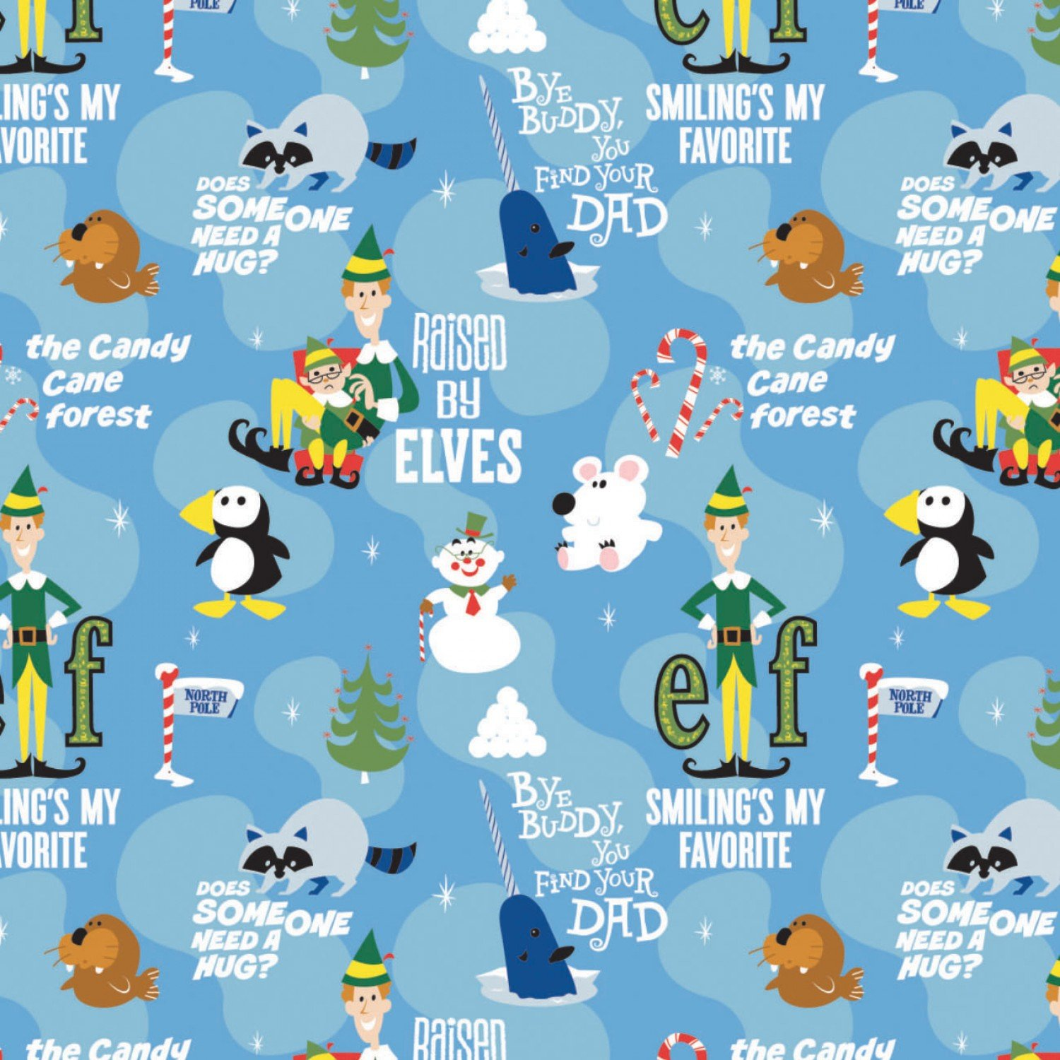 Character Winter Holiday 2 Elf Movie Momentson Blue  Fabric by the Yard